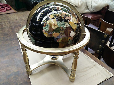 Large World Globe with Compass & Brass frame excellent condition
