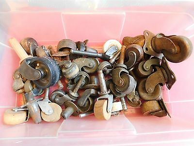 Vintage Mostly Wood & Metal Wheels for Antique Dressers Box of Them Lot