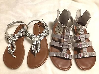 GIRLS sandals thong silver jewels & rhinestones ~ 2 pair ~ size 2 youth