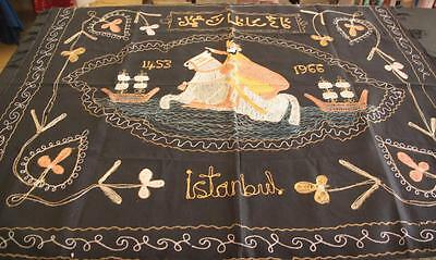 Vintage Istanbul Turkey Embroidered Wall Hanging 1966