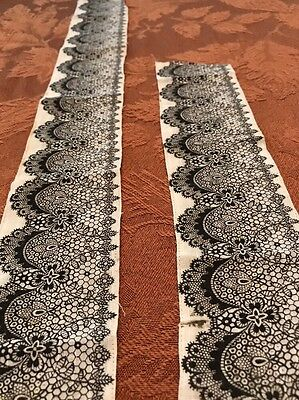"Antique Black Eyelet Printed Border Trim. Scallop Lace Vintage Cotton 50"" Ribbon"