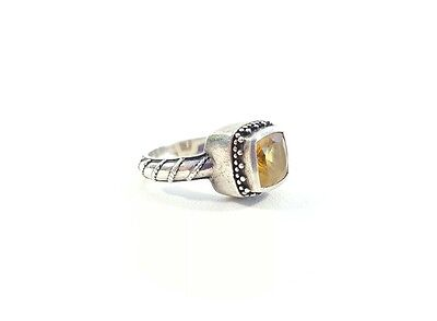 Lori Bonn Sterling Silver 925 Citrine Yellow Ring Size 7 Signed Stamped Handmade