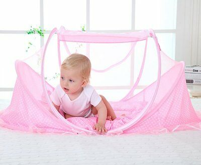 Travel Crib Baby Tent Bed with Mosquito Net Outdoor Portable Instant Pop Up Pink