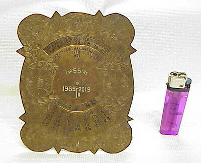 Hand Made PERPETUAL 55 YEAR CALENDAR Vintage 1965-2019 Solid Brass Ornate