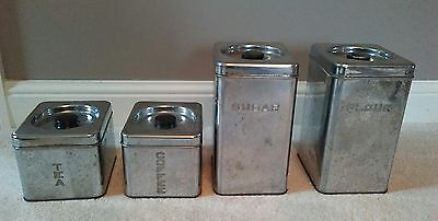 Vintage Lincoln Beautyware Chrome Metal Kitchen Canisters Flour Sugar Tea Coffee