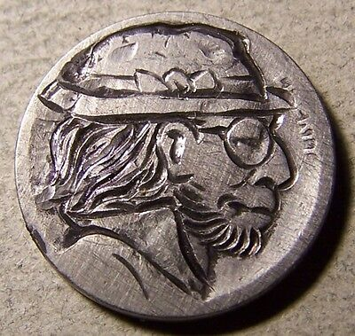 "Classy Carved Hobo Nickel ,Coin Art , "" Chaz Town Chuck.."""