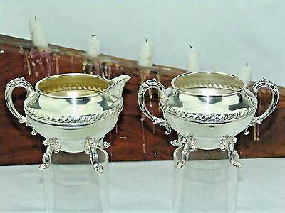 SHERIDAN SILVER FOOTED CREAMER /  PITCHER and OPEN SUGAR BOWL  SILVER ON COPPER