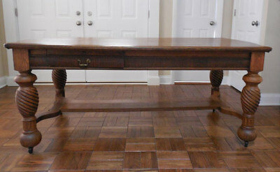 Antique OAK PARTNERS DESK / LIBRARY TABLE / FARM TABLE  **OUTSTANDING**