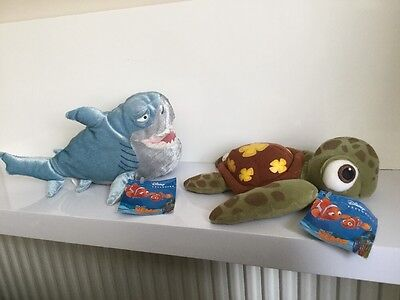 """Finding Nemo Plush Bruce Squirt x2 Tagged 10""""  Soft Toy Cuddly"""