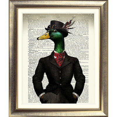 DICTIONARY WALL ART PRINT ANTIQUE BOOK PAGE BIRD vintage Old DUCK STEAMPUNK