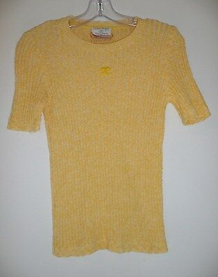 Vintage Courreges Paris Women's Yellow Ribbed Short Sleeved Sweater France