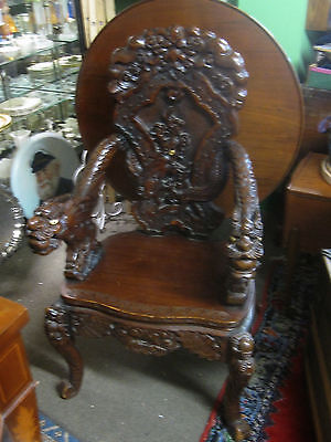 Vintage Carved Chinese Dragon Throne Chair