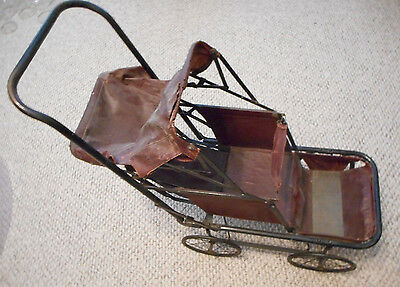 Unique Vintage 1920's Collapsible Metal Frame Baby Doll Carriage Stroller Pram
