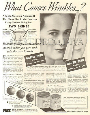 VTG 1930's Pond's Cold Cream BEAUTY Skin Care Dermatology WRINKLES Anti Aging Ad