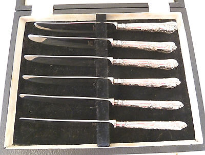 BOXED Set of 6 SOLID SILVER Queens Pattern Tea KNIVES. Yates, Sheffield 1959