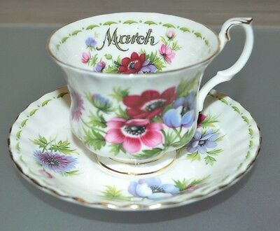 Royal Albert Flower of the month Anemones March cup and saucer