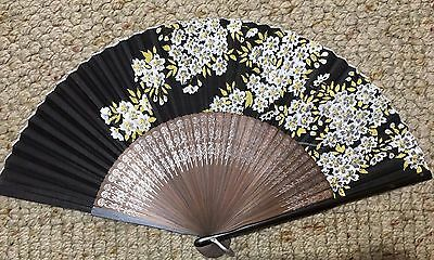 Vintage Japanese Paper Fan Hand-Painted Made in Occupied Japan, Black w/ Flowers
