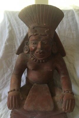 Vintage Clay Earthenware Sculpture South American? Indian Sitting  Aztec,