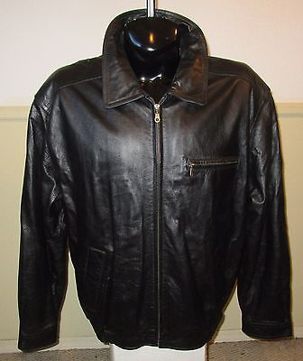 Men's QUIDOO EXCHANGE Black Soft 100% Leather Zip Jacket Size LT NWOT
