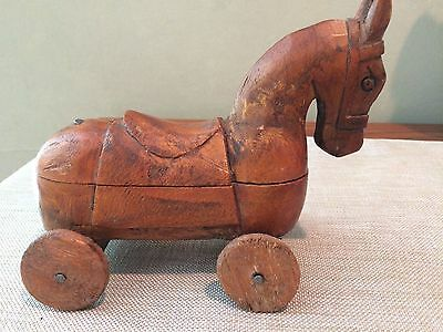 Hand Carved Horse On Wheels Secret Compartment