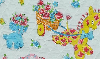 """Vintage Gingham Dog Calico Cat Baby Quilt 40 x 50"""""""