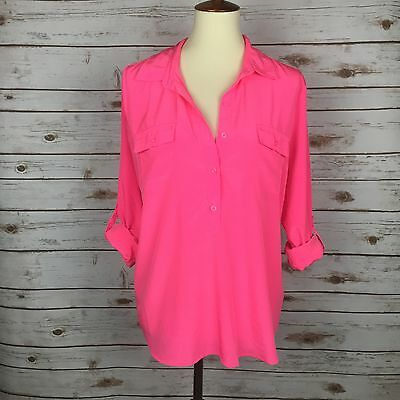 Lot of 3 Old Navy Blouses EUC Pink, Teal and Orange Size Large