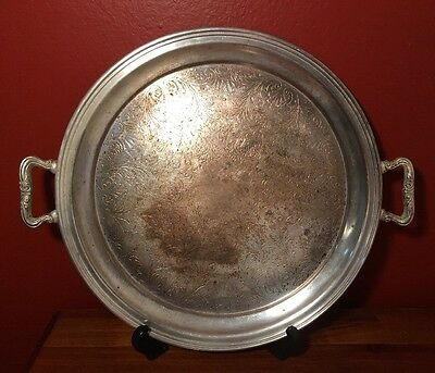 Vintage Sheridan Silver Waiter  Serving Tray, Handles Round, Silverplated, 12""