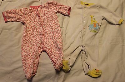 Lot of 2 Girls Infant 3 Month One Piece Romper Sleep and Play
