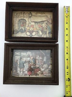 1966 Anton Pieck (Set of 2)  Art Shadow box 3D layered paper, framed, vintage