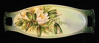 Antique O&EG Royal Austria Hand Painted Water Lily Floral Celery Tray -Signed