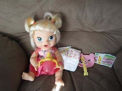 """Baby Alive Hasbro 2013 """"My Baby All Gone"""" blonde doll w/Accessories EUC"""