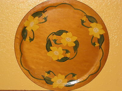 Antique Wooden Platter Plate Hand Painted Signed Date 1950 Floral Daffodil Tole