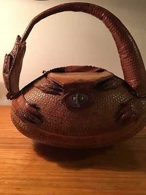VINTAGE 1950'S LADIES ARMADILLO HANDBAG, VERY RARE!  Some damage