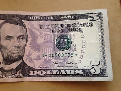 2009 $5 Star Note 960K Circulated Five Dollar Bank Note