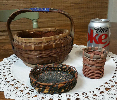 Lot of 3 Vintage Small Hand-Woven Baskets