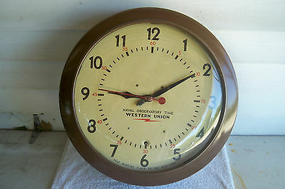"""Large Vintage 1940's Western Union Naval Observatory Time Self Winding 20"""" Clock"""