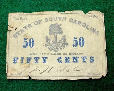 1862 The Bank Of The State Of South Carolina 50 Cent Note.  Free Expedited S&h!