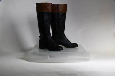 Style & Co. Black Brown Faux Leather Equestrian Mid-Calf Boots Size 10M