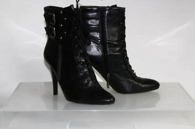 Guess Black Faux Leather Pointed Toe Lace Up Booties Size 10M