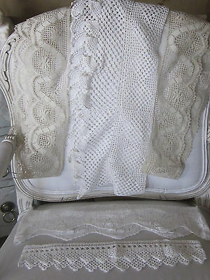 "Antique Vintage Lace Hand Made 5 Large Pieces 226"" Total Pillow Cases Trims Wide"
