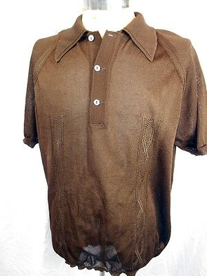 Vintage 60s 70s Dark Brown Tex Tella Acetate Nylon Mod Style Polo Shirt OS L