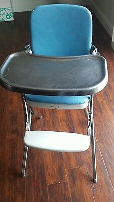 Vintage Cosco 1960's Kids Childs High Chair Chrome Metal Foldable High Chair