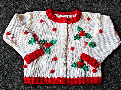 Hartstrings Sweater Size 2T, Girls Cardigan White Red Button-down Quality EUC