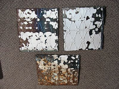 Antique Vintage Tin Ceiling Tile Reclaimed Salvage Repurpose Architectural 3 Pcs