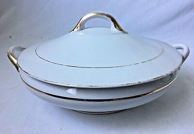 Vintage Noritake The Yukon Covered Vegetable Casserole Dish White Gilt Gold Trim
