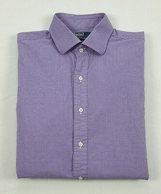 Polo Ralph Lauren Mens Regent Slim Purple Tattersall Check Shirt 15.5-34/35