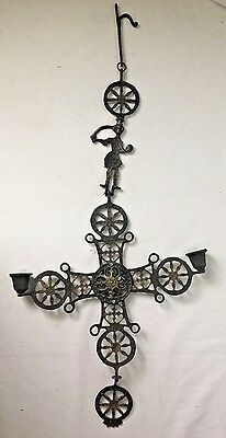 Vintage Hanging Byzantine Cross Candle Holder with Executioner