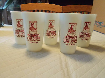 Vintage Milk Glass Advertising Glasses, New Bedford Co.,Dead Whale or Stove Boat