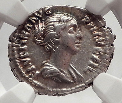 FAUSTINA II Junior - Marcus Aurelius Wife - Ancient Silver Roman Coin NGC i62481