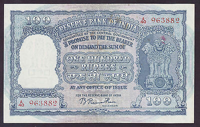 1949-57 India 100 Rupees gXF P.43a
